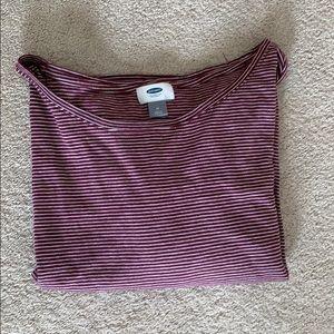 Burgundy and white striped shirt